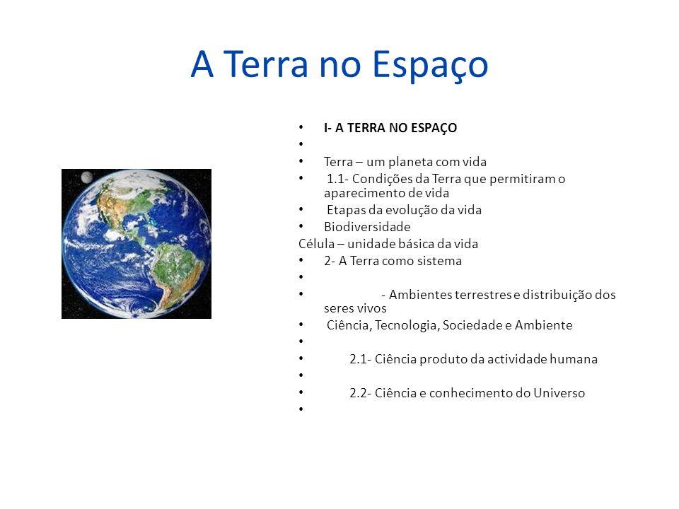 A Terra no Espaço I- A TERRA NO ESPAÇO Terra – um planeta com vida 1.1- Condições da Terra que permitiram o aparecimento de vida Etapas da evolução da