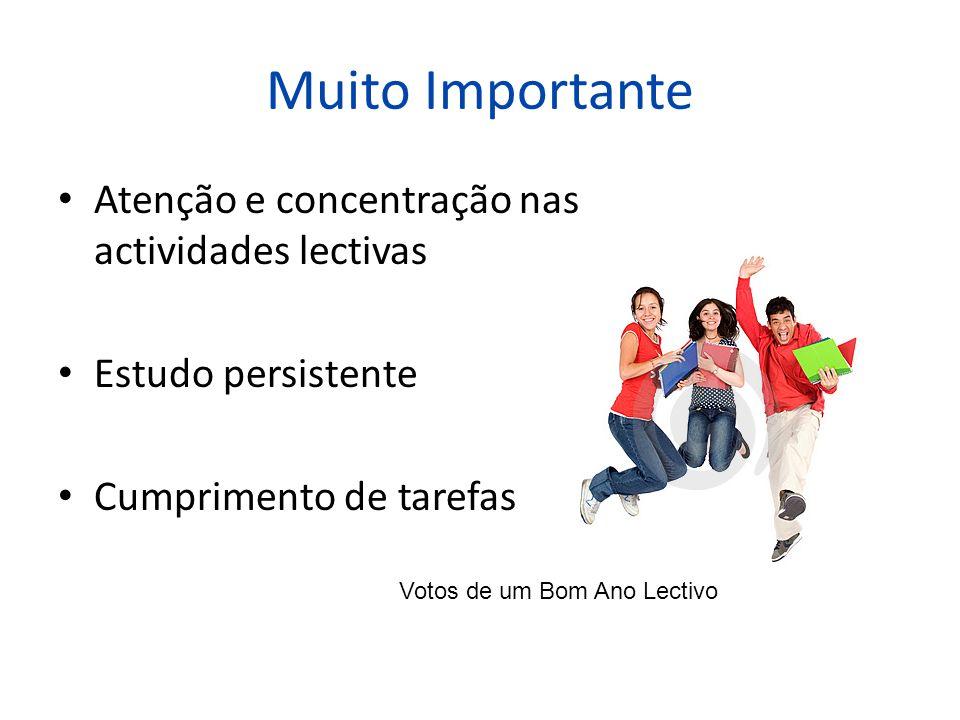 Muito Importante Atenção e concentração nas actividades lectivas Estudo persistente Cumprimento de tarefas Votos de um Bom Ano Lectivo