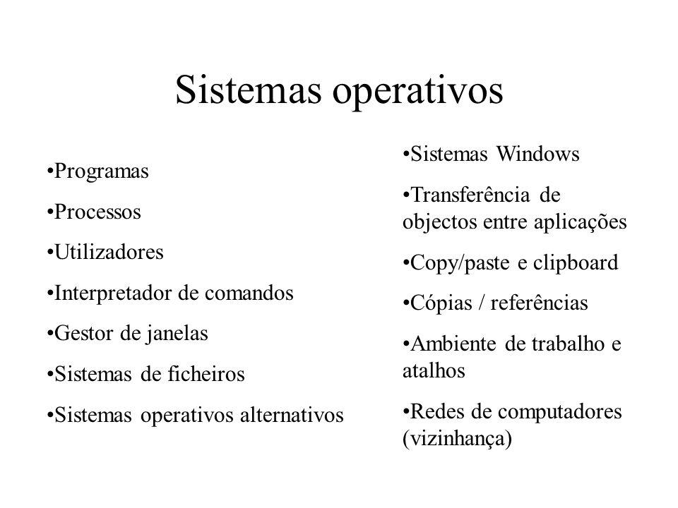 Sistemas operativos Programas Processos Utilizadores Interpretador de comandos Gestor de janelas Sistemas de ficheiros Sistemas operativos alternativo