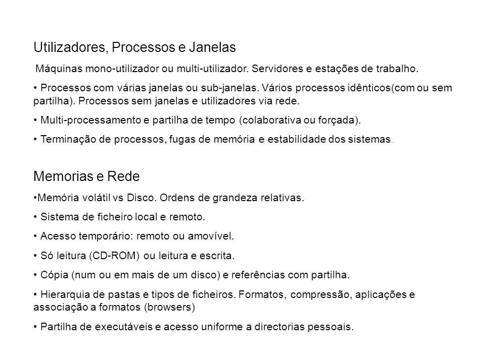 Utilizadores, Processos e Janelas Máquinas mono-utilizador ou multi-utilizador. Servidores e estações de trabalho. Processos com várias janelas ou sub
