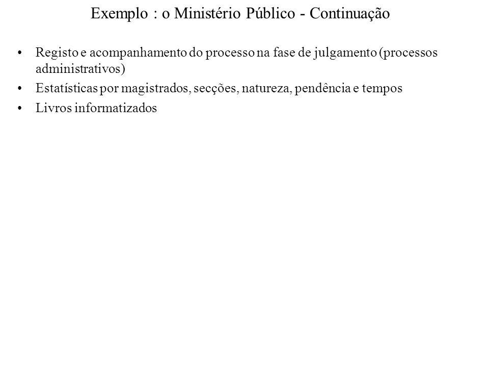 Exemplo : o Ministério Público - Continuação Registo e acompanhamento do processo na fase de julgamento (processos administrativos) Estatísticas por m