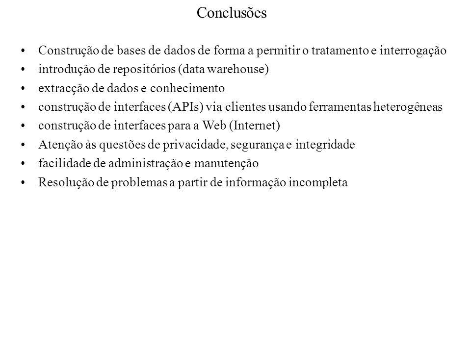 Conclusões Construção de bases de dados de forma a permitir o tratamento e interrogação introdução de repositórios (data warehouse) extracção de dados