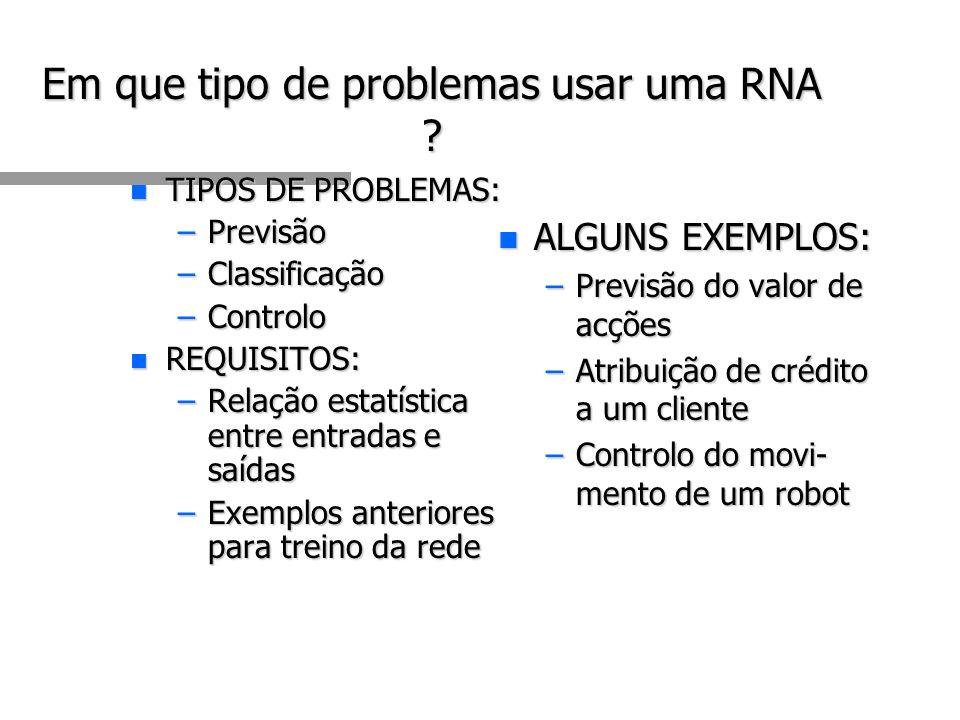 Em que tipo de problemas usar uma RNA .
