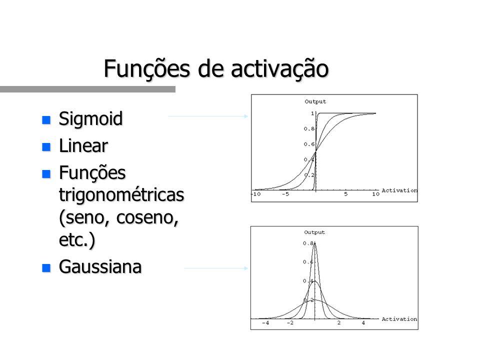 Funções de activação n Sigmoid n Linear n Funções trigonométricas (seno, coseno, etc.) n Gaussiana
