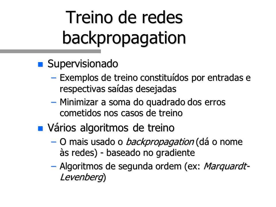 Treino de redes backpropagation n Supervisionado –Exemplos de treino constituídos por entradas e respectivas saídas desejadas –Minimizar a soma do quadrado dos erros cometidos nos casos de treino n Vários algoritmos de treino –O mais usado o backpropagation (dá o nome às redes) - baseado no gradiente –Algoritmos de segunda ordem (ex: Marquardt- Levenberg)