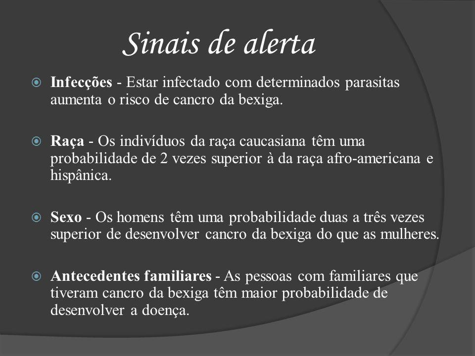 Sinais de alerta Infecções - Estar infectado com determinados parasitas aumenta o risco de cancro da bexiga. Raça - Os indivíduos da raça caucasiana t
