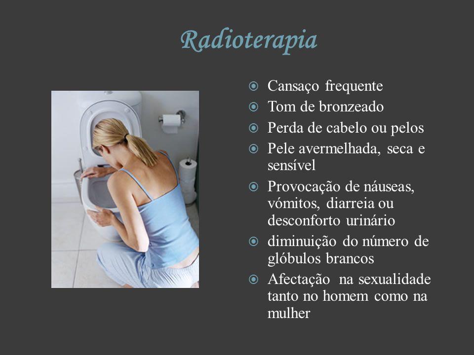Radioterapia Cansaço frequente Tom de bronzeado Perda de cabelo ou pelos Pele avermelhada, seca e sensível Provocação de náuseas, vómitos, diarreia ou