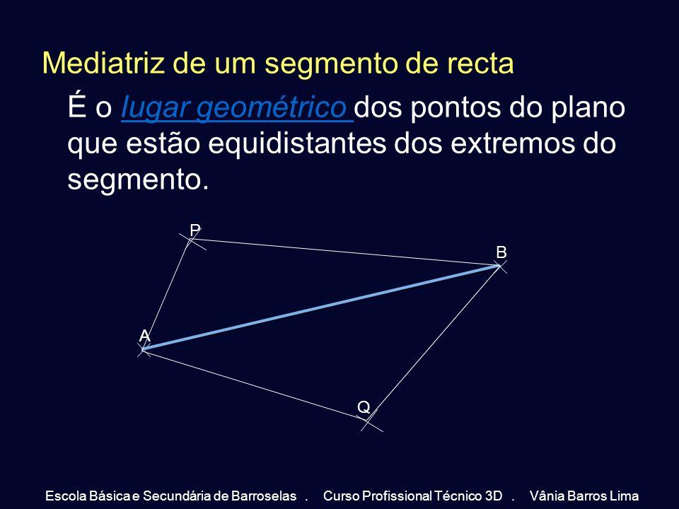 Mediatriz de um segmento de recta É o lugar geométrico dos pontos do plano que estão equidistantes dos extremos do segmento.lugar geométrico A B P Q E