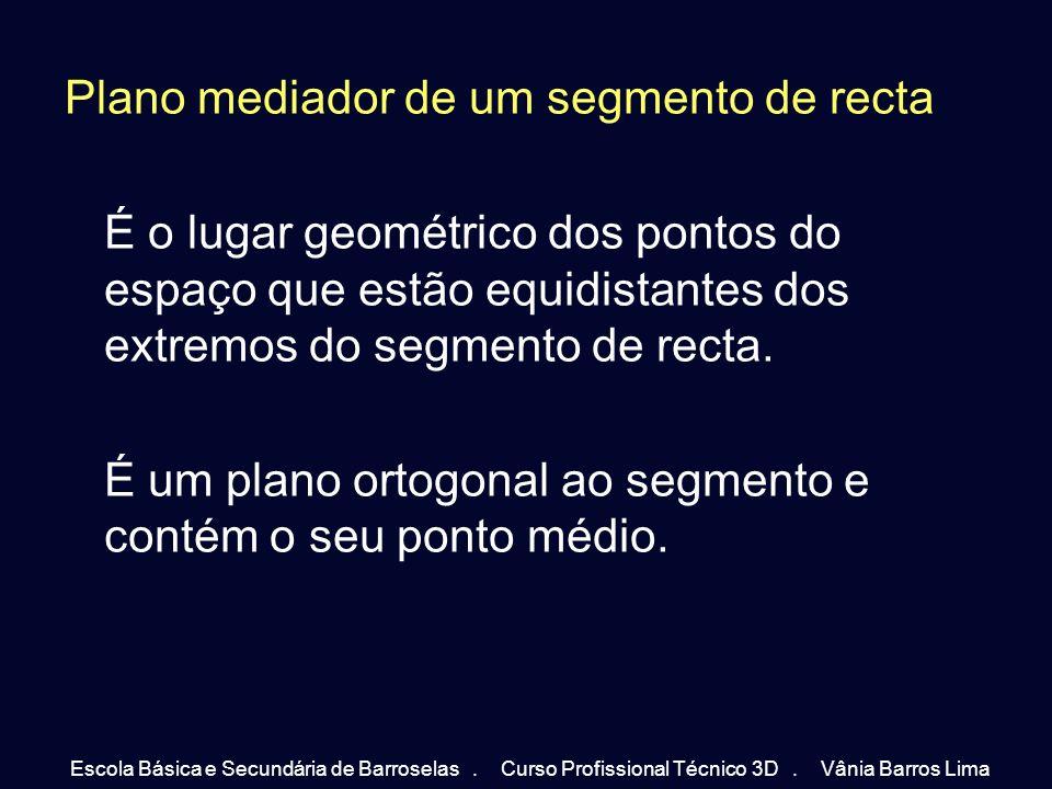 Plano mediador de um segmento de recta É o lugar geométrico dos pontos do espaço que estão equidistantes dos extremos do segmento de recta. É um plano