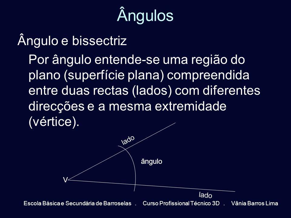 Ângulos Ângulo e bissectriz Por ângulo entende-se uma região do plano (superfície plana) compreendida entre duas rectas (lados) com diferentes direcçõ