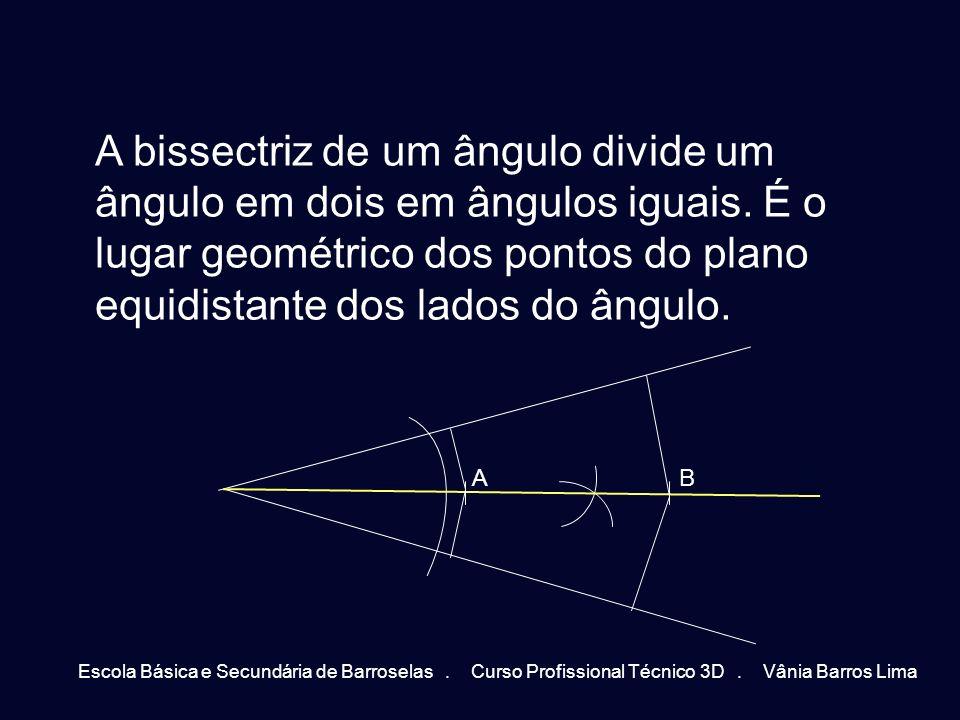 A bissectriz de um ângulo divide um ângulo em dois em ângulos iguais. É o lugar geométrico dos pontos do plano equidistante dos lados do ângulo. AB Es