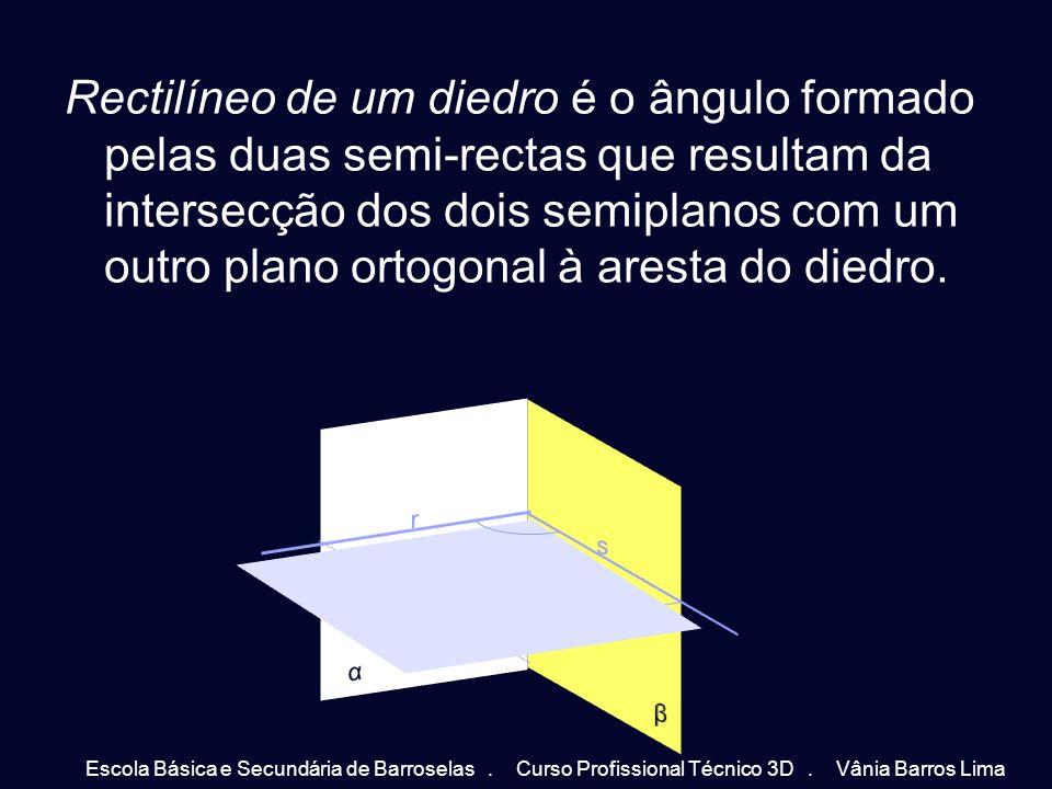Rectilíneo de um diedro é o ângulo formado pelas duas semi-rectas que resultam da intersecção dos dois semiplanos com um outro plano ortogonal à arest