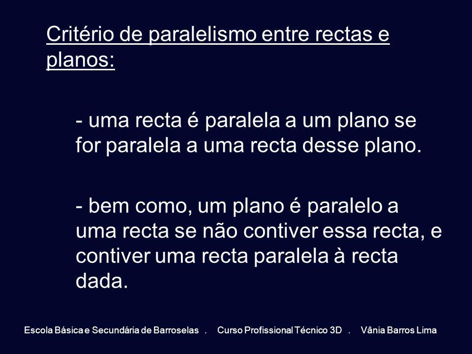 Critério de paralelismo entre rectas e planos: - uma recta é paralela a um plano se for paralela a uma recta desse plano. - bem como, um plano é paral