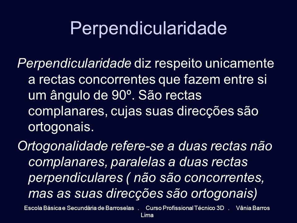 Perpendicularidade Perpendicularidade diz respeito unicamente a rectas concorrentes que fazem entre si um ângulo de 90º. São rectas complanares, cujas