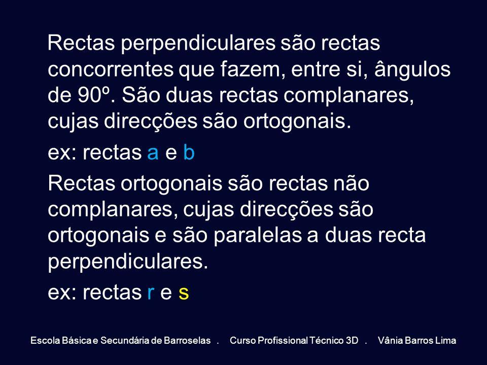 Rectas perpendiculares são rectas concorrentes que fazem, entre si, ângulos de 90º. São duas rectas complanares, cujas direcções são ortogonais. ex: r