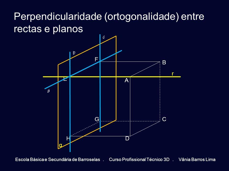 Perpendicularidade (ortogonalidade) entre rectas e planos Escola Básica e Secundária de Barroselas. Curso Profissional Técnico 3D. Vânia Barros Lima A
