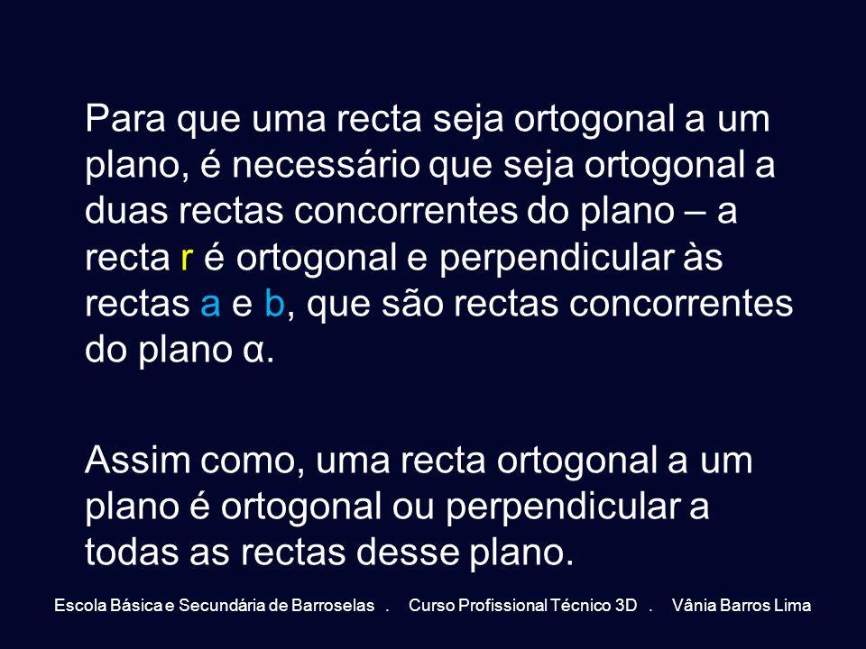Para que uma recta seja ortogonal a um plano, é necessário que seja ortogonal a duas rectas concorrentes do plano – a recta r é ortogonal e perpendicu
