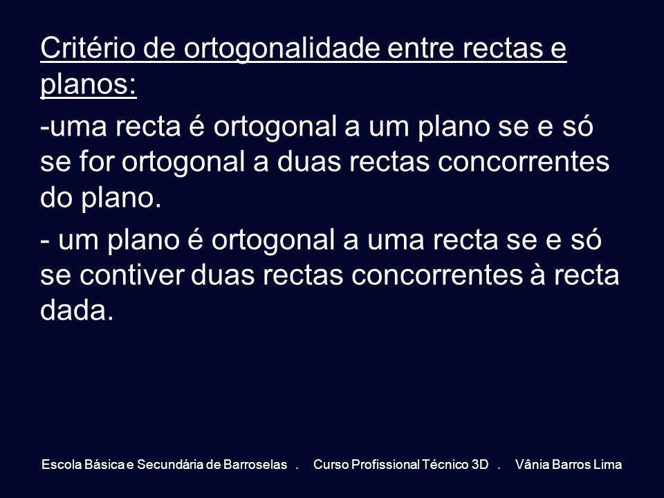 Critério de ortogonalidade entre rectas e planos: -uma recta é ortogonal a um plano se e só se for ortogonal a duas rectas concorrentes do plano. - um
