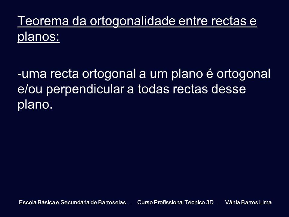 Teorema da ortogonalidade entre rectas e planos: -uma recta ortogonal a um plano é ortogonal e/ou perpendicular a todas rectas desse plano. Escola Bás