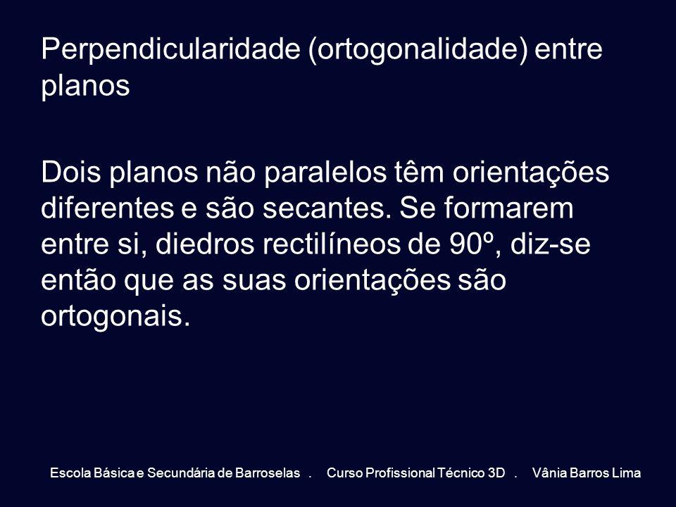 Perpendicularidade (ortogonalidade) entre planos Dois planos não paralelos têm orientações diferentes e são secantes. Se formarem entre si, diedros re