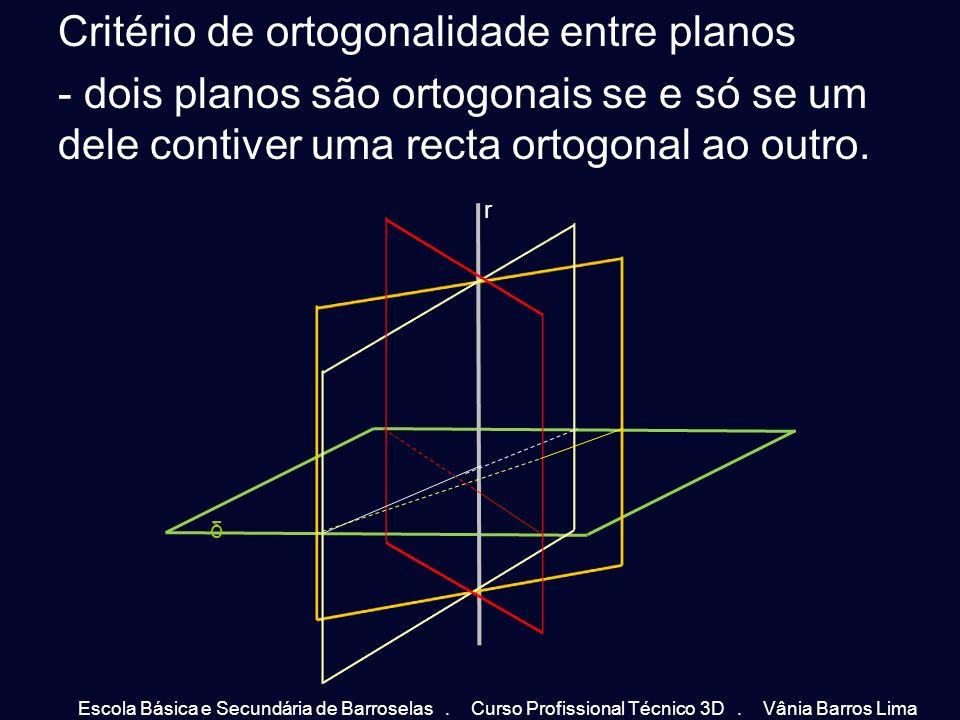 Critério de ortogonalidade entre planos - dois planos são ortogonais se e só se um dele contiver uma recta ortogonal ao outro. δ r Escola Básica e Sec