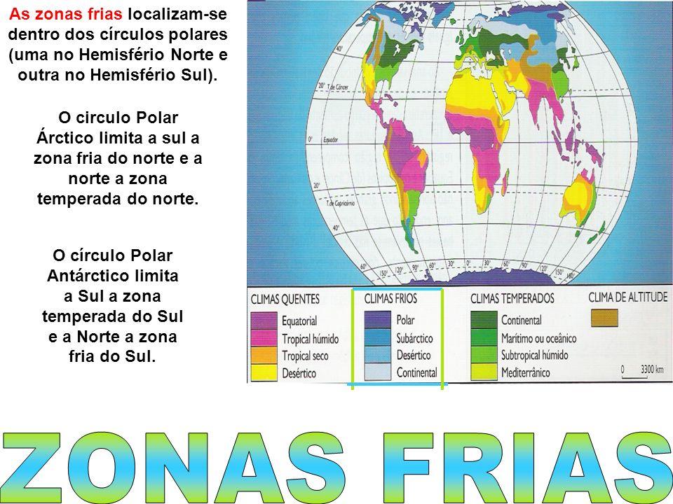 As zonas frias localizam-se dentro dos círculos polares (uma no Hemisfério Norte e outra no Hemisfério Sul). O circulo Polar Árctico limita a sul a zo