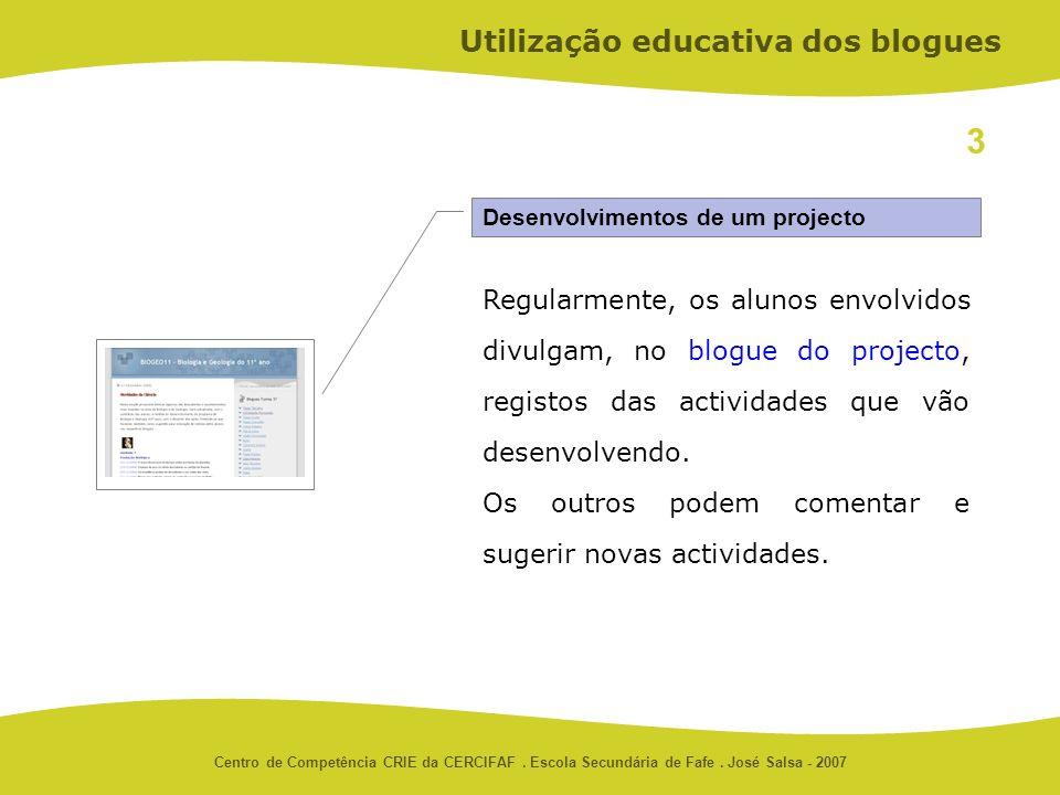 Centro de Competência CRIE da CERCIFAF. Escola Secundária de Fafe. José Salsa - 2007 Desenvolvimentos de um projecto Utilização educativa dos blogues