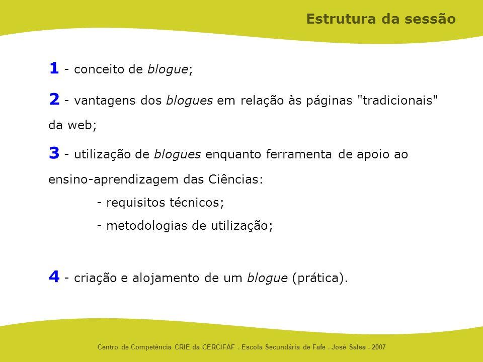 Centro de Competência CRIE da CERCIFAF. Escola Secundária de Fafe. José Salsa - 2007 1 - conceito de blogue; 2 - vantagens dos blogues em relação às p