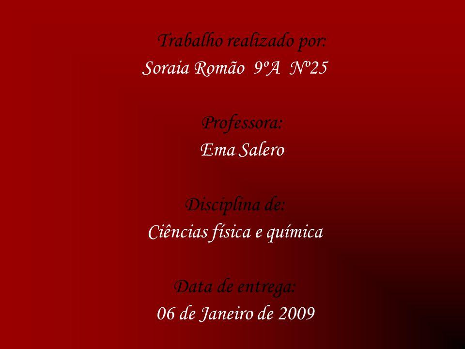 Trabalho realizado por: Soraia Romão 9ºA Nº25 Professora: Ema Salero Disciplina de: Ciências física e química Data de entrega: 06 de Janeiro de 2009