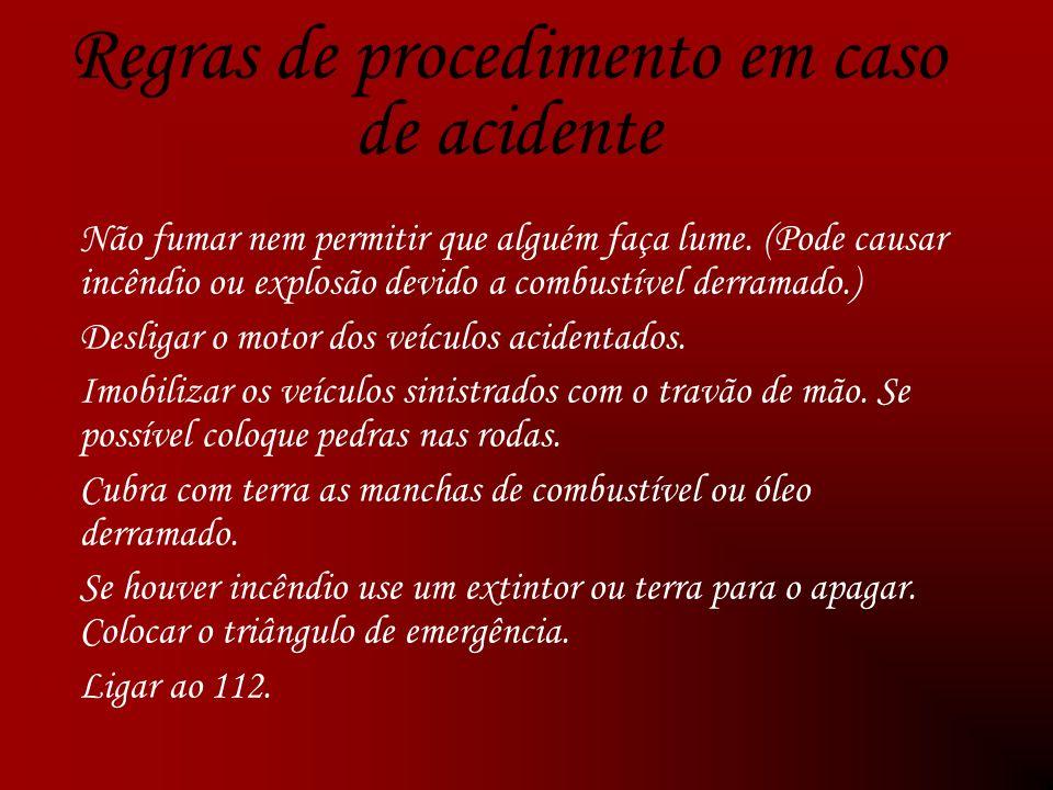 Regras de procedimento em caso de acidente Não fumar nem permitir que alguém faça lume.