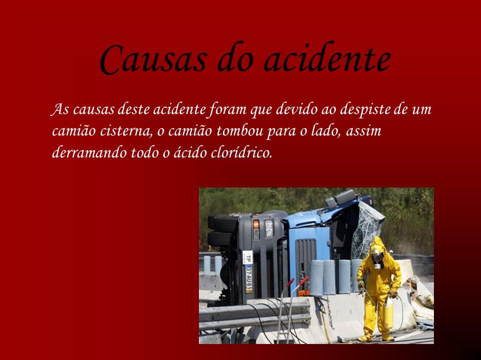 Causas do acidente As causas deste acidente foram que devido ao despiste de um camião cisterna, o camião tombou para o lado, assim derramando todo o ácido clorídrico.