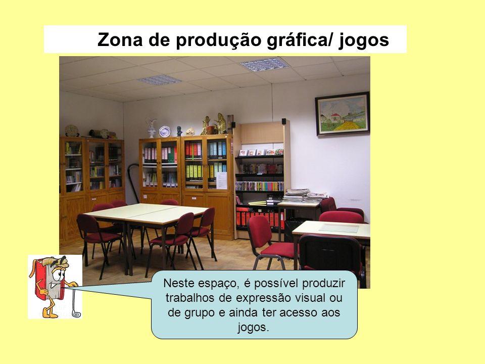 Neste espaço, é possível produzir trabalhos de expressão visual ou de grupo e ainda ter acesso aos jogos. Zona de produção gráfica/ jogos