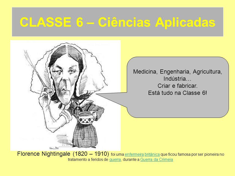 CLASSE 6 – Ciências Aplicadas Florence Nightingale (1820 – 1910) foi uma enfermeira britânica que ficou famosa por ser pioneira no tratamento a ferido
