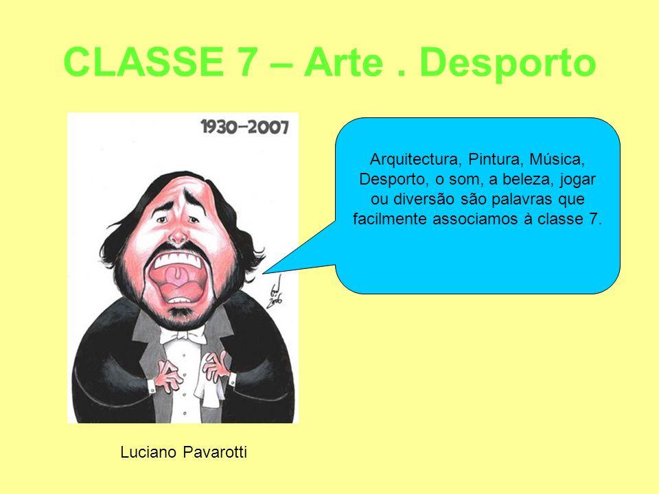 CLASSE 7 – Arte. Desporto Luciano Pavarotti Arquitectura, Pintura, Música, Desporto, o som, a beleza, jogar ou diversão são palavras que facilmente as