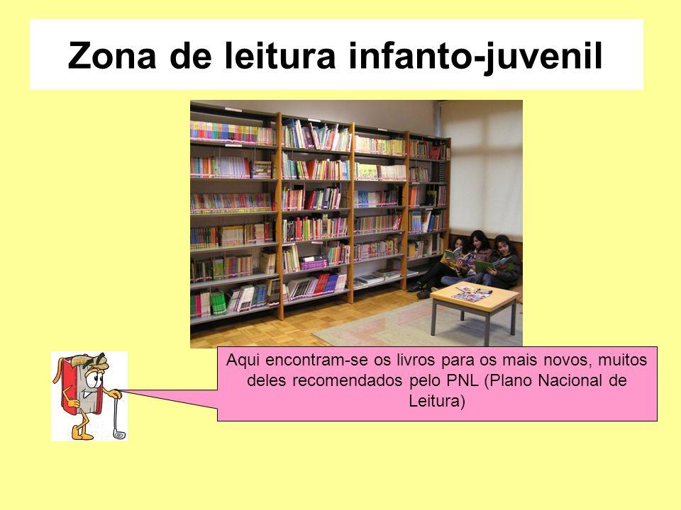 Zona de leitura infanto-juvenil Aqui encontram-se os livros para os mais novos, muitos deles recomendados pelo PNL (Plano Nacional de Leitura)