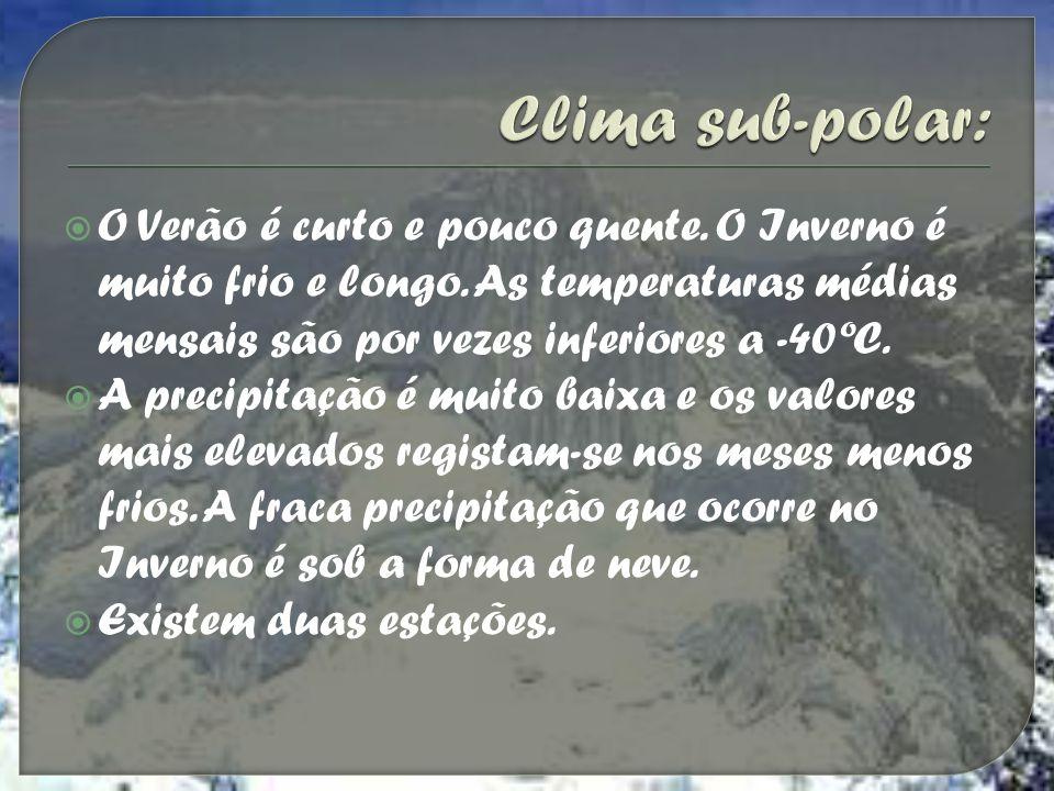 O Verão é curto e pouco quente. O Inverno é muito frio e longo. As temperaturas médias mensais são por vezes inferiores a -40ºC. A precipitação é muit