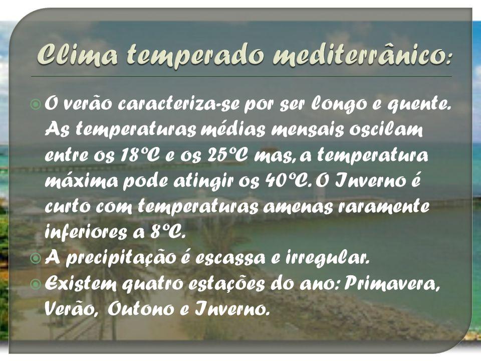 O verão caracteriza-se por ser longo e quente. As temperaturas médias mensais oscilam entre os 18ºC e os 25ºC mas, a temperatura máxima pode atingir o