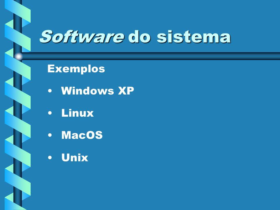 Software do sistema Exemplos Windows XP Linux MacOS Unix