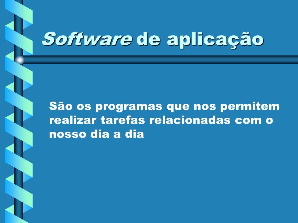 Software de aplicação Exemplos Processadores de Texto Folhas de Cálculo Sistemas de Gestão de Bases de Dados Apresentações gráficas Etc.
