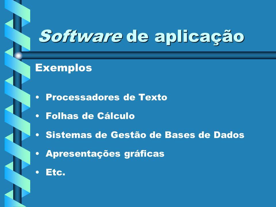 Sistema operativo em ambiente gráfico O sistema operativo é responsável por: Controlar a actividade do processador Gerir as memórias Assegurar a interacção com os periféricos Organização da informação nos suportes de armazenamento Intermediário (interface) entre o utilizador e todo o hardware e aplicações