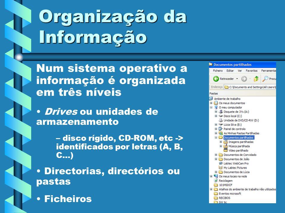 Organização da Informação Num sistema operativo a informação é organizada em três níveis Drives ou unidades de armazenamento – – disco rígido, CD-ROM,