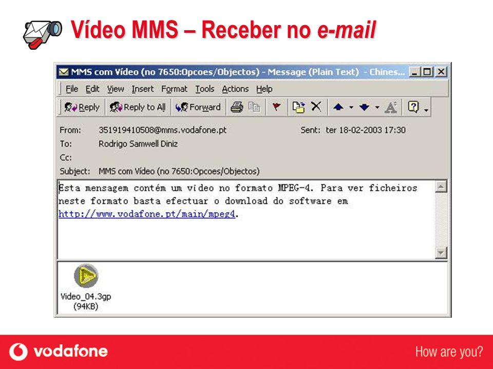 Vídeo MMS – Receber no e-mail