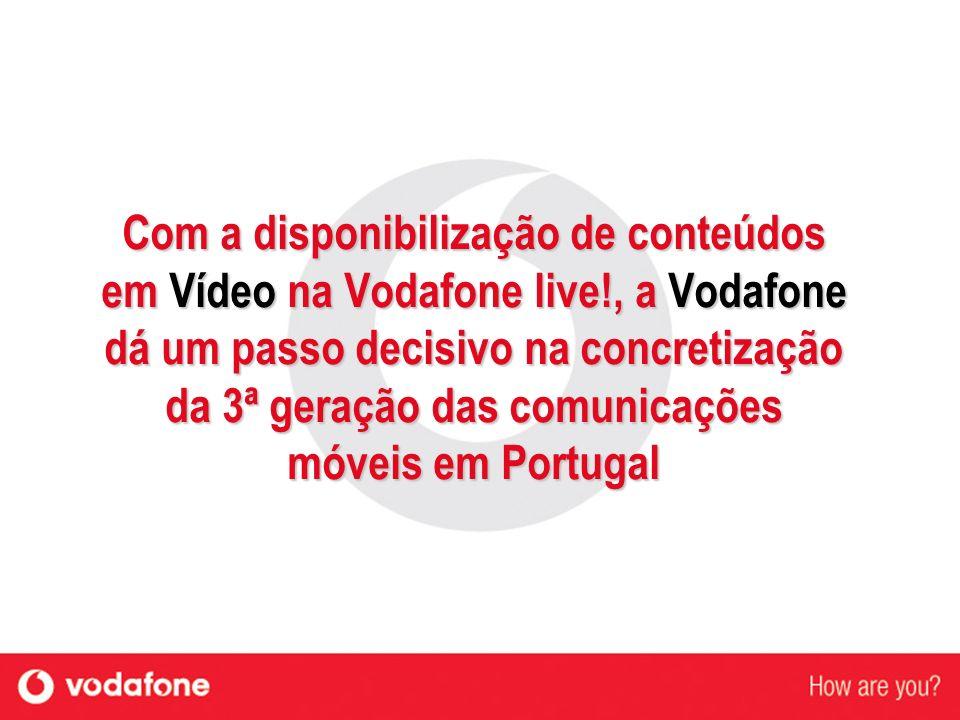 Com a disponibilização de conteúdos em Vídeo na Vodafone live!, a Vodafone dá um passo decisivo na concretização da 3ª geração das comunicações móveis