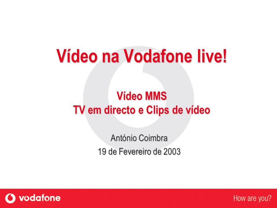 Vídeo na Vodafone live! Vídeo MMS TV em directo e Clips de vídeo António Coimbra 19 de Fevereiro de 2003