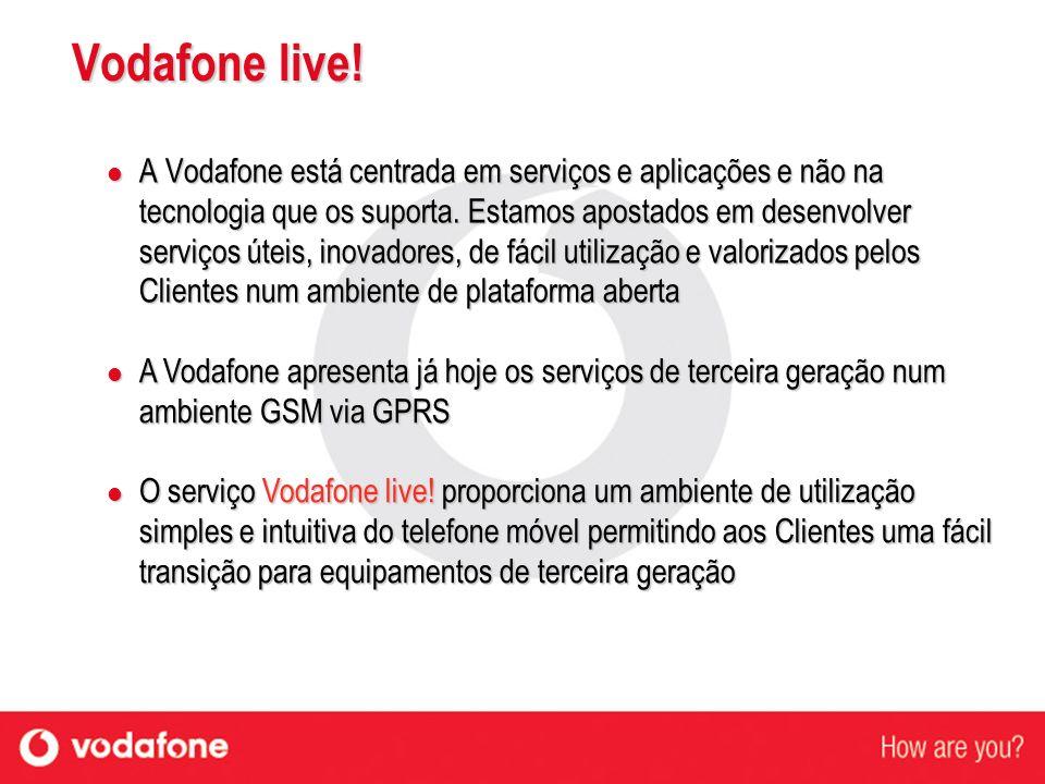Vodafone live! A Vodafone está centrada em serviços e aplicações e não na tecnologia que os suporta. Estamos apostados em desenvolver serviços úteis,