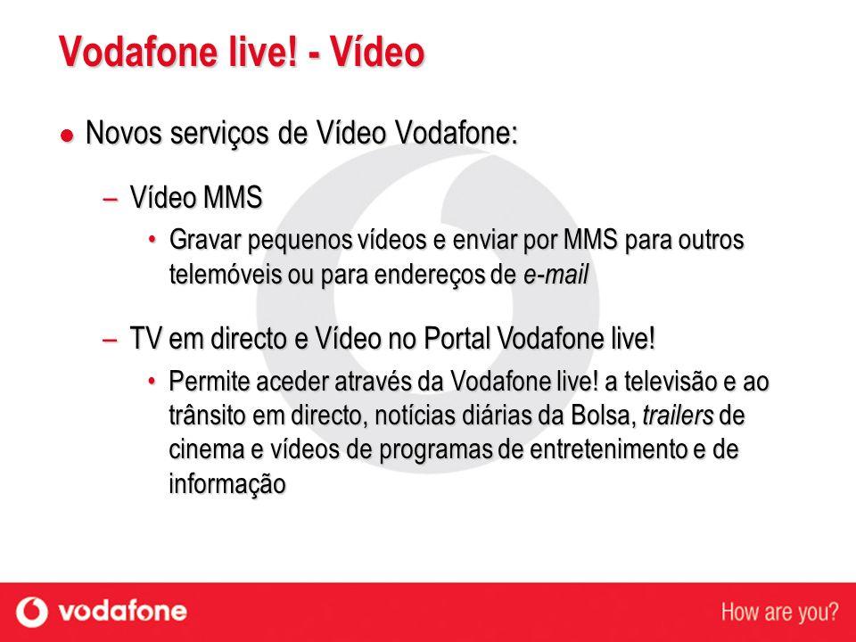 Primeiros equipamentos com capacidades de vídeo Primeiros equipamentos com capacidades de vídeo A curto prazo existirão outros equipamentos onde a Vodafone poderá disponibilizar estes serviços de vídeo A curto prazo existirão outros equipamentos onde a Vodafone poderá disponibilizar estes serviços de vídeo Nokia 7650 Disponível Nokia 3650 Brevemente Vodafone live.