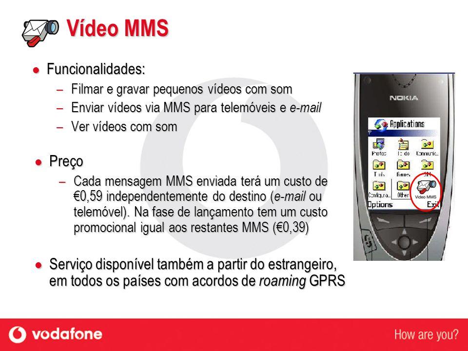 Vídeo MMS Funcionalidades: Funcionalidades: –Filmar e gravar pequenos vídeos com som –Enviar vídeos via MMS para telemóveis e e-mail –Ver vídeos com s