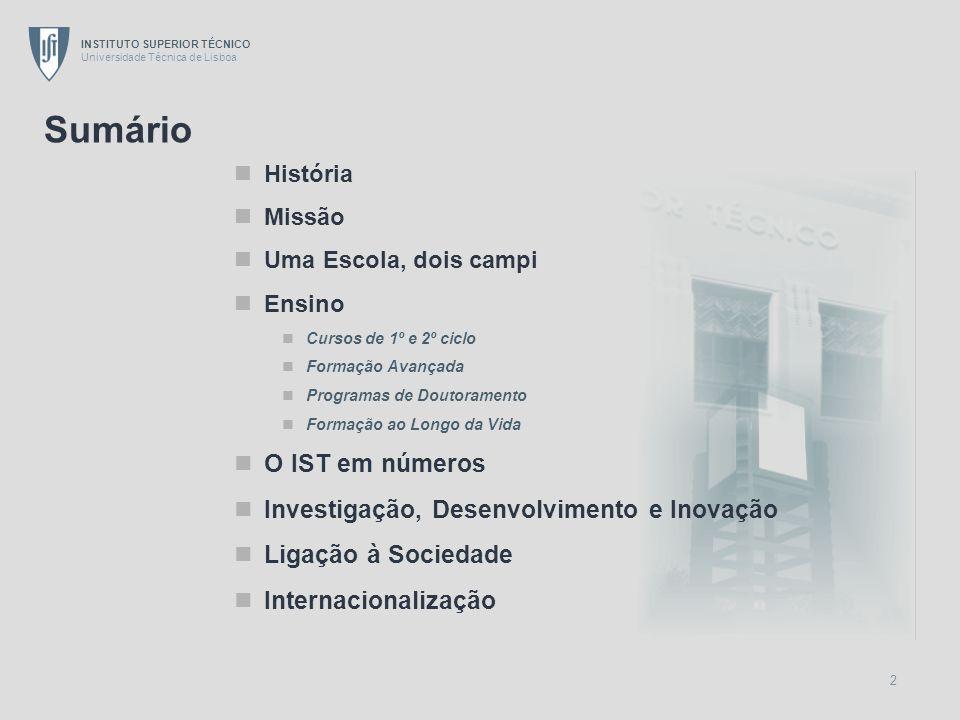 INSTITUTO SUPERIOR TÉCNICO Universidade Técnica de Lisboa 33 Origem dos Projectos em I&DI Internacional Nacional 26% 74% Fonte: MGP/IST