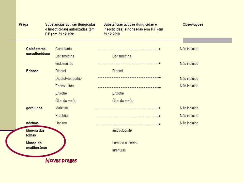 Coleópteros curculionídeos CarbofurãoNão incluido Deltametrina endossulfãoNão incluido Erinose Dicofol Dicofol+tetradifãoNão incluido EndossulfãoNão i