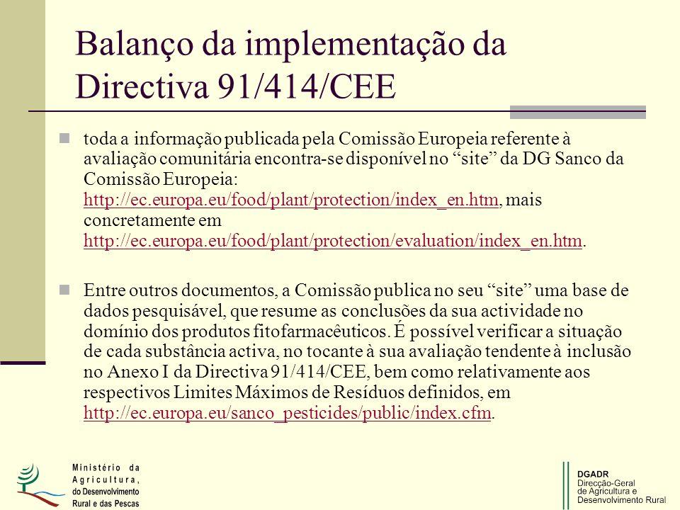 Balanço da implementação da Directiva 91/414/CEE toda a informação publicada pela Comissão Europeia referente à avaliação comunitária encontra se dis